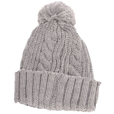bobble knit hat stretch cable knit ski hat with pom pom bobble biscuit