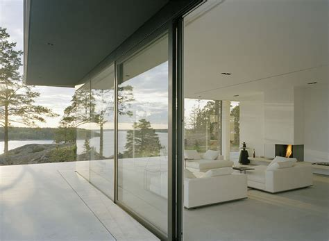 Modern Lake House In Sweden Patio Doors White Living Room Stunning Lake House In Sweden