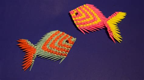 youtube pattern fish 3d origami a pretty fish a fingerling tutorial assembly