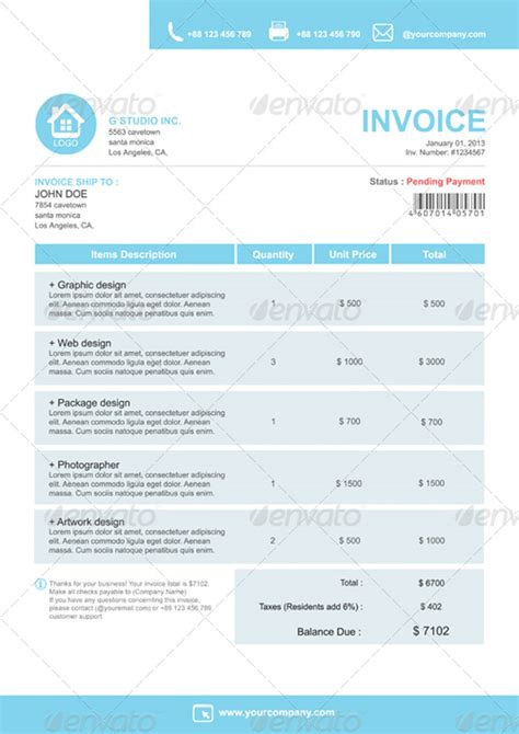indesign invoice template images