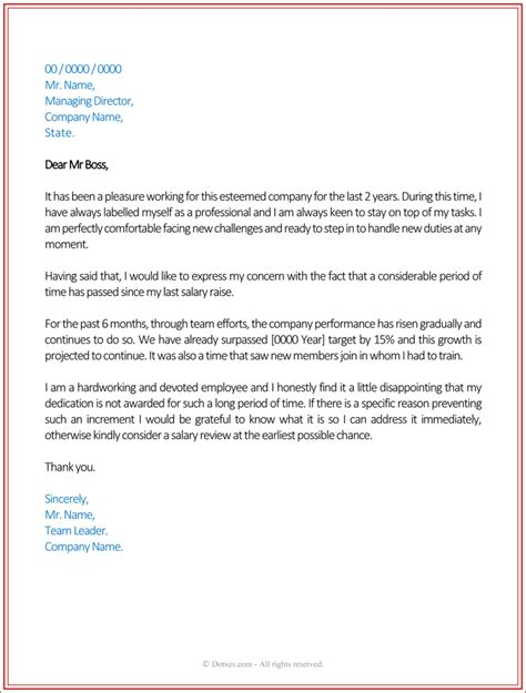 Raise Letter For Employee Pay Increase Letter Best Business Template