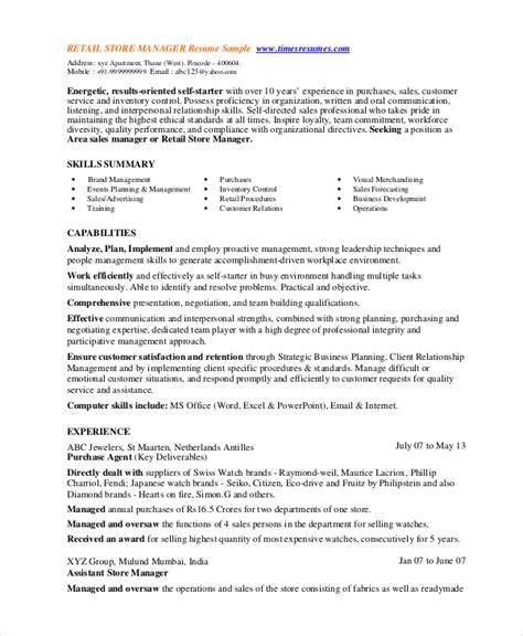 Retail Resume Template by 8 Retail Manager Resumes Free Sle Exle Format