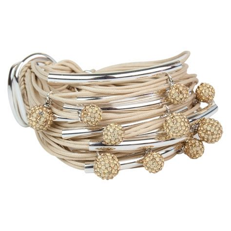 Sand Silver Tubes Diamond Balls Bracelet by Gillian Julius