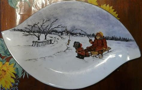 Porcelain Vase Assiette Ovale Avec Paysage Enneig 233 Photo De Peinture