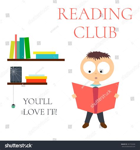 club z my reading reading club poster children educational stock vector