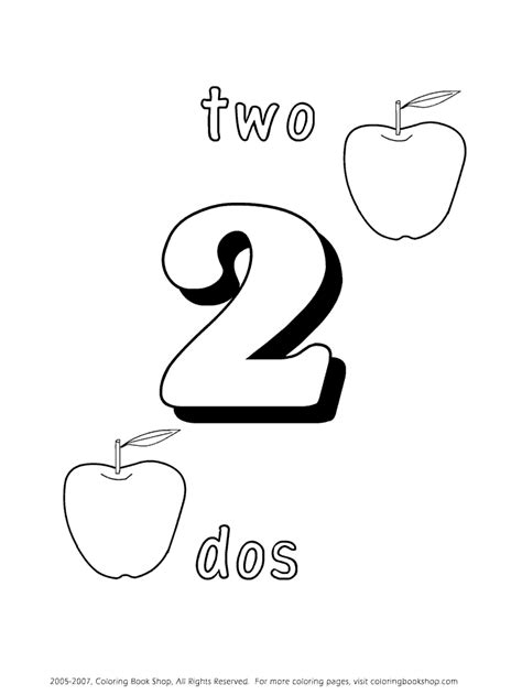 dos numbers learning spanish coloring page