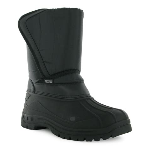 mens pull on snow boots 96s mens black padded velcro pull on casual winter rubber