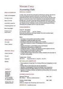 accounting clerk resume sle exle description