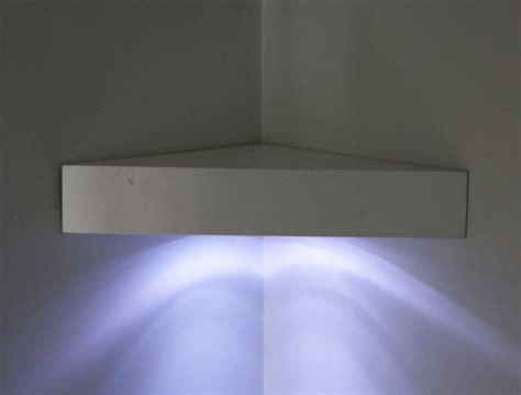 floating corner shelf with led lights home ideas
