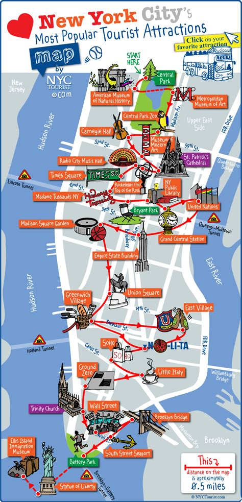 libro new york city landmarks tourist map of new york city attractions sightseeing museums sites sights monuments and