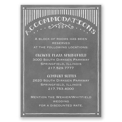 what to put on wedding accommodation cards chalkboard sketch accommodations card invitations by