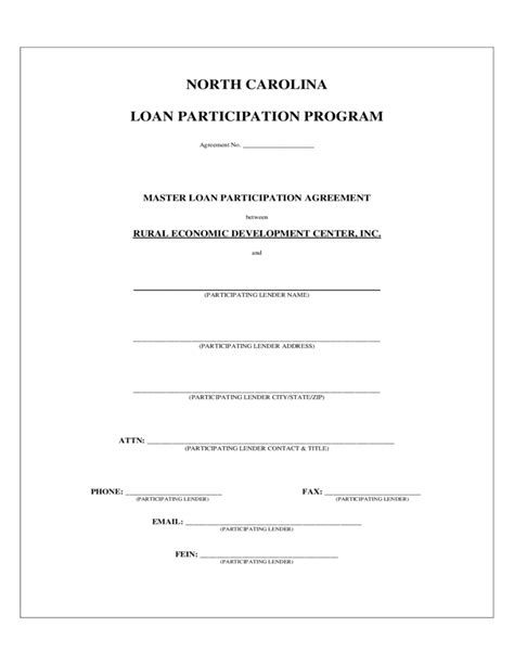 Participation Agreement Template carolina loan participation program free