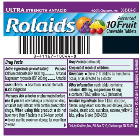 Vitabelle Chew E Tablet 10 dailymed rolaids ultra strength fruit calcium carbonate