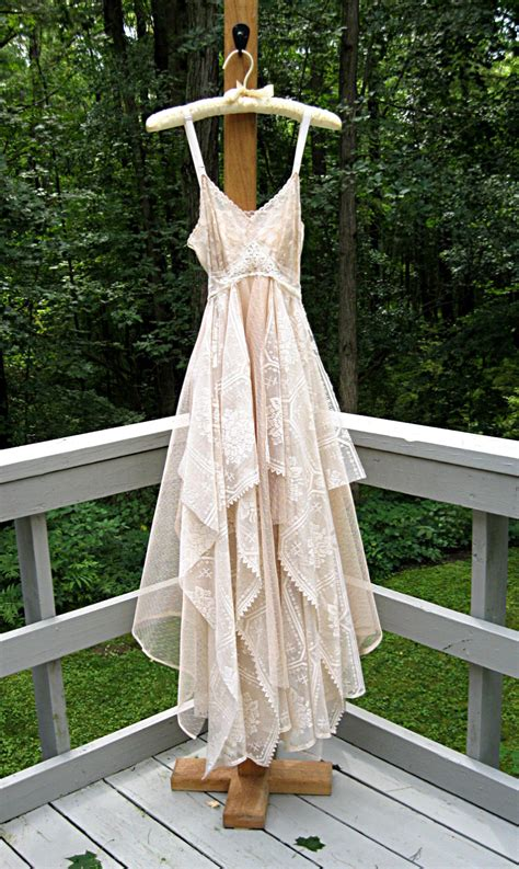 Vintage Hippie Wedding Dresses by Xs Size 2 Floor Length Beige Cafe Au Lait Bohemian Boho