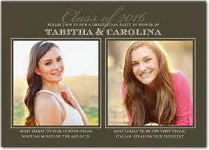two grads graduation invitations in gray or black hello one