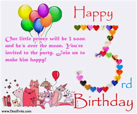 Happy 3rd Birthday Quotes For My Free 3rd Birthday Party Invitation Card Online Invitations