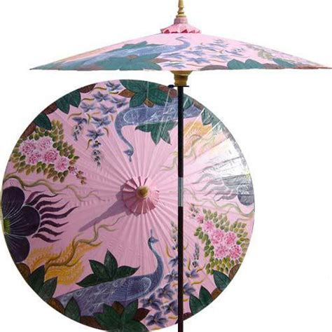 asian patio umbrella decor peacock garden outdoor patio umbrella pristine pink reviews houzz