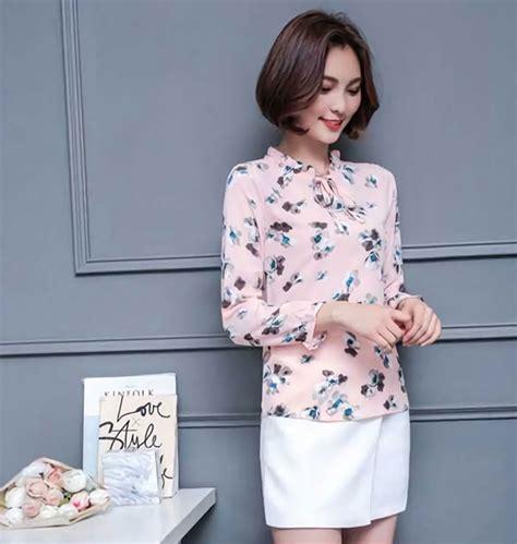 Blus Sifon Motif Bunga baju blus bahan sifon import motif bunga cm836