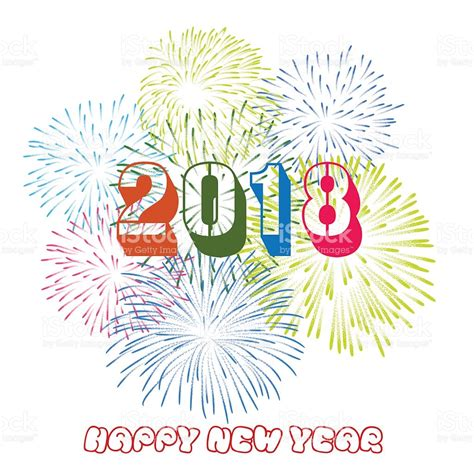 new year 2018 theme vector illustration of colorful fireworks happy new year