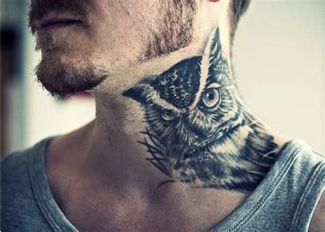 owl neck tattoo 52 amazing owl neck and designs on neck golfian
