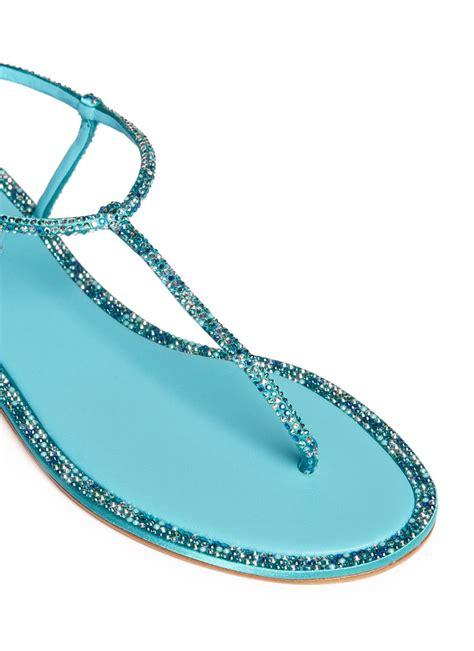 Sandal Wedges Wanita Lcc 958 lyst rene caovilla cupido t flat sandals in blue