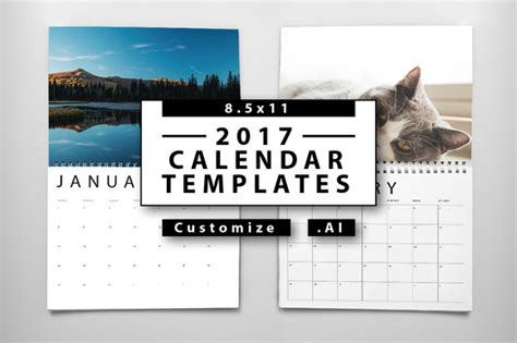 Calendar Template 2017 Indesign 2017 Calendar Templates Templates On Creative Market