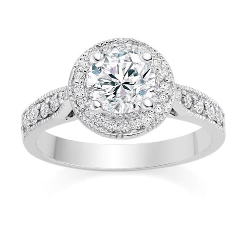 cut 0 75 carat halo engagement ring with side stones