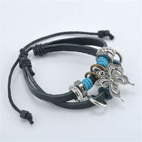Handcrafted Leather Bracelets - handmade pu leather bracelet black butterfly tribal blue
