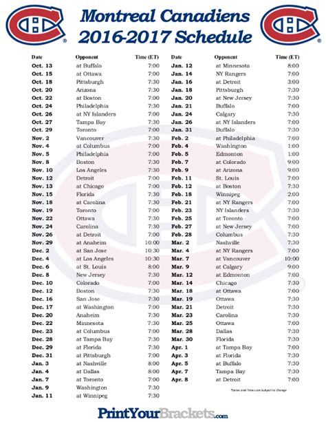 printable habs schedule printable montreal canadiens hockey schedule 2016 2017