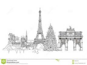 christmas tree in paris sketch kid s dreams stock illustration image 50334152