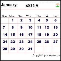 Calendar 2018 With Holidays India January 2018 Calendar India Templates Tools