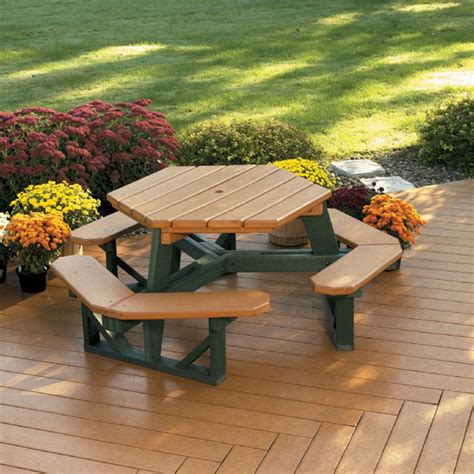 picnic bench sale picnic table attached bench 6 foot hexagon recycled