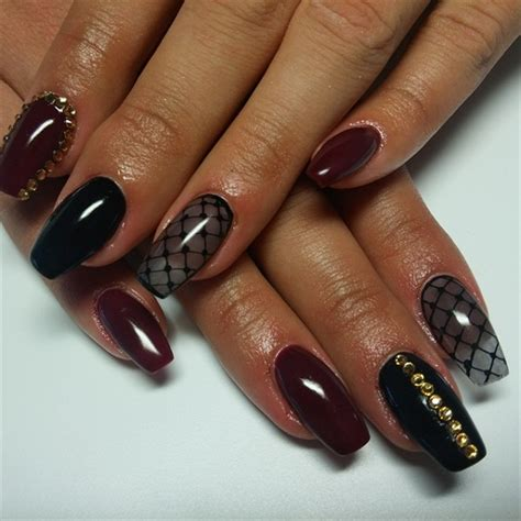 beautiful glitter nail art design for elegant nail 35 maroon nails designs nenuno creative