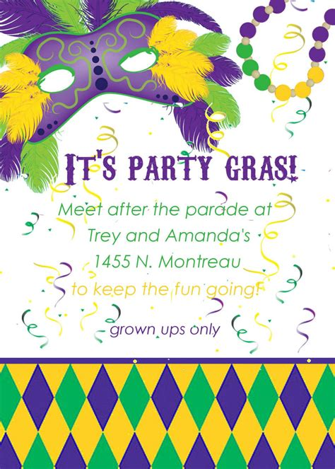 mardi gras invitation templates cloudinvitation com