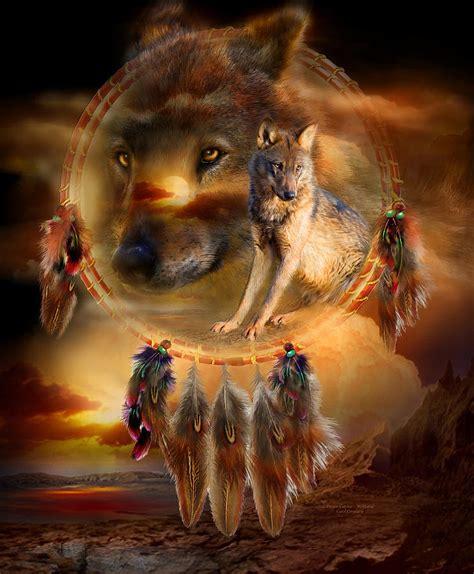 native american wolf spirit dream catcher wolfland mixed media by carol cavalaris