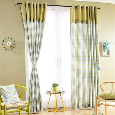 lime green curtains for bedroom lime green plaid jacquard linen cotton blend color block