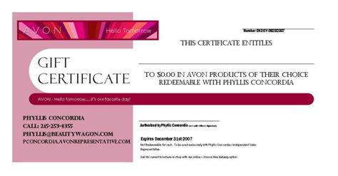 avon gift certificates templates free avon marketing templates wagon