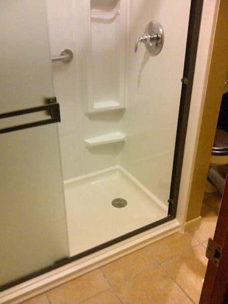 walk  shower xx acrylic shower pan  wall surround senior safetypro