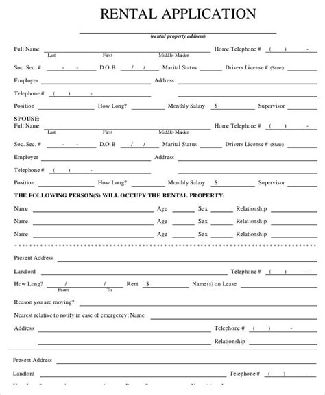 Rental Application Form Carisoprodolpharm Com Free Lease Template Pdf