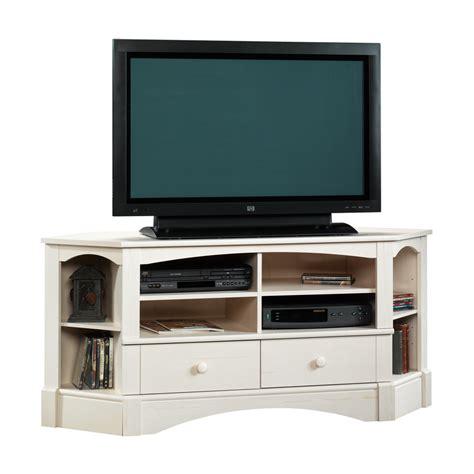 sauder corner tv shop sauder harbor view antiqued white tv stand at lowes com