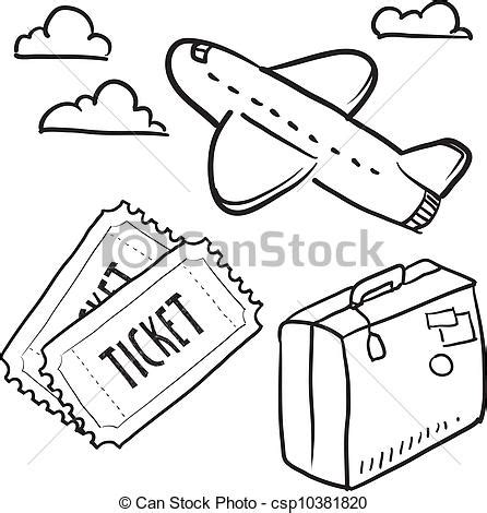 air travel objects sketch. doodle style air travel sketch