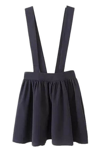 Strapped Skirt romwe strapped shoulder pleated skirtfor romwe