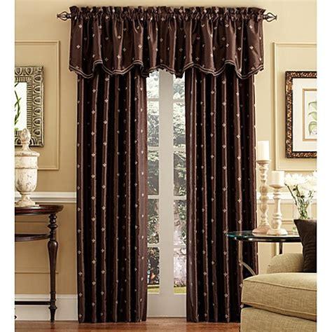Chocolate Curtains With Valance Buy Celeste Scalloped Window Curtain Valance In Chocolate From Bed Bath Beyond