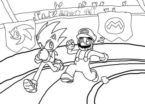 mario racing coloring pages sonic vs mario racing lineart by xero j on deviantart