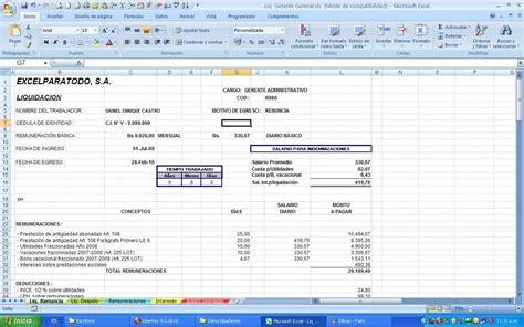 calculo de liquidacin en excel 2016 calculo de liquidacion de trabajo