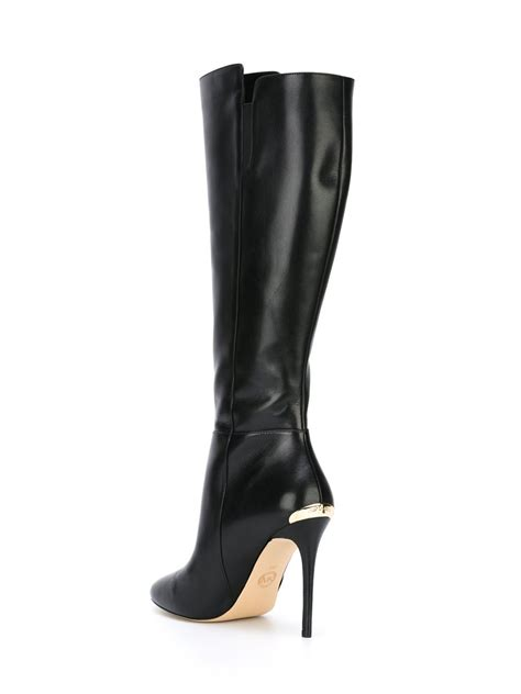 michael kors high heel boots michael michael kors knee high stiletto boots in black lyst