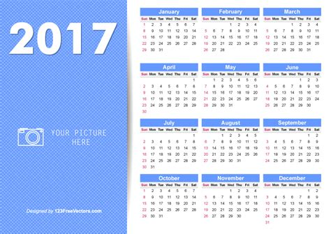 printable 2017 calendar illustrator by 123freevectors on