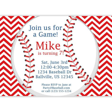 Baseball Invitation Red Stripe Chevron Baseball Ball Baseball Birthday Invitation Templates Free