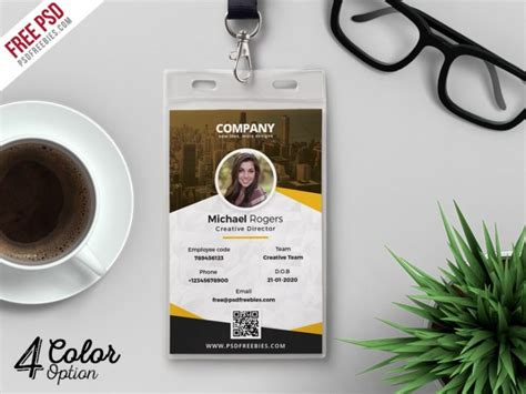 library id card template corporate identity card design template psd