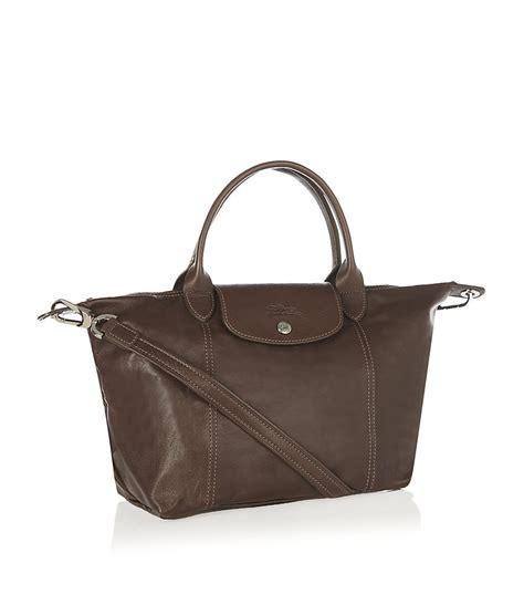 Longch Le Pliage Cuir Lcs longch le pliage cuir small handbag in brown chocolate lyst